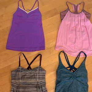 4 Lululemon tanks teal, gray, pink, purple sz 4